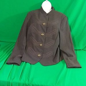Cabi sz 16 gray military embroidered jacket